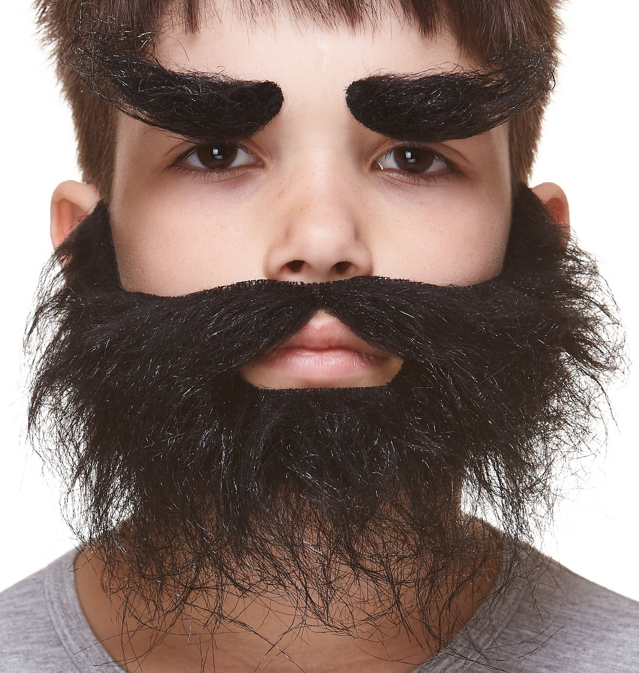 Mustaches Self Adhesive, Novelty, Fake, Small, Realistic Traper Beard, and Eyebrows, Black Color
