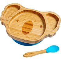 beaubaby® Koala Bamboo Suction Plate for Babies and Toddlers with Silicone Suction and Baby Spoon for Self-Feeding