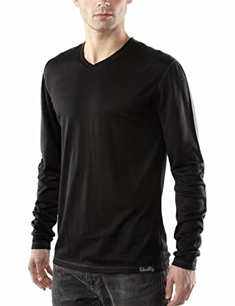 4242dd9f7158f1 Woolly Clothing Men s Merino Wool Long Sleeve V-Neck Shirt - Everyday  Weight - Wicking