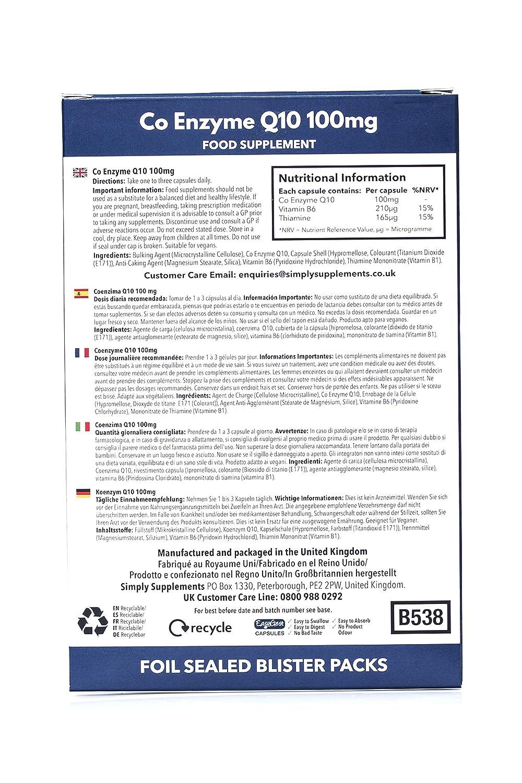 Coenzima Q10 100mg Ubiquinona - 60 cápsulas - Hasta 2 meses de suministro - Aumenta los niveles de energía - SimplySupplements: Amazon.es: Salud y cuidado ...