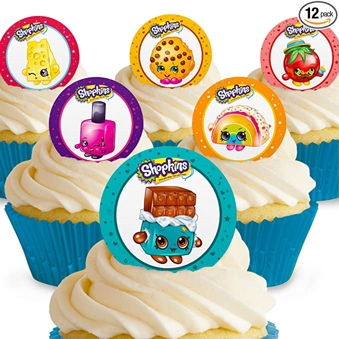 12 Shopkins edible paper cupcake cookie topper Decorations PRE CUT