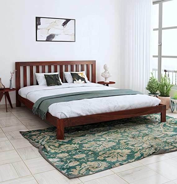 Home Edge Sheesham Solid Wood Fultz Queen Platform Lacquer Bed  Brown, Mahogany  Beds