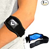 Tennis Elbow Brace (2-Pack) with Compression Pad by PlayActive Sports - Best Tennis & Golfer's Elbow Strap Band – Relieves Tendonitis and Forearm Pain - Includes Two Elbow Support Braces and E-Guide
