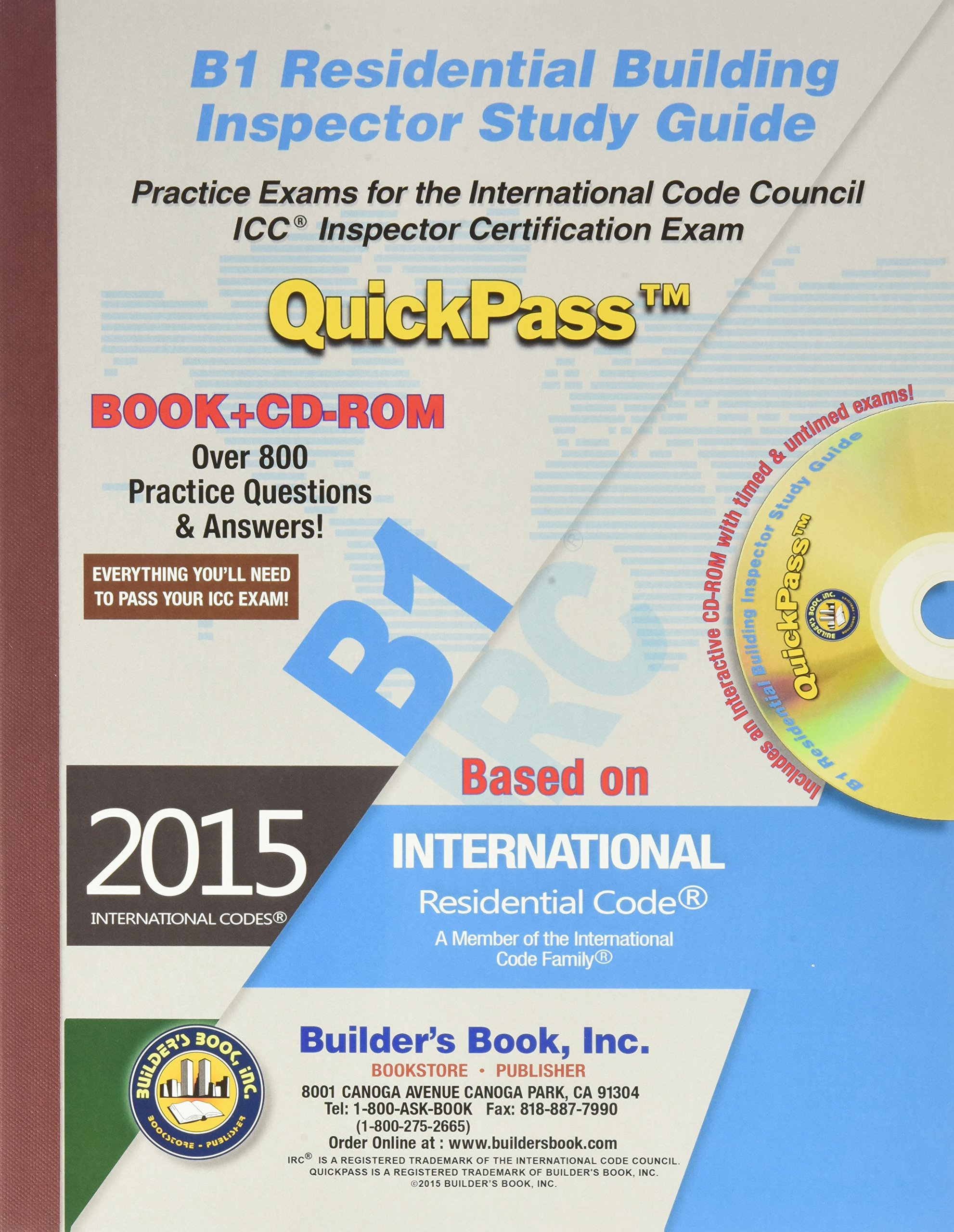 B1 Residential Building Inspector QuickPass Study Guide Based on 2015 IRC:  Builders Book Inc: 9781622701087: Amazon.com: Books