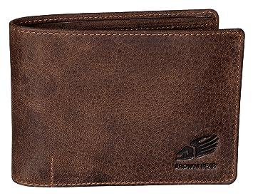 52960b52e99d4 Brown Bear Geldbörse Herren Leder Braun Vintage RFID Schutz hochwertig  Männer Geldbeutel Portemonnaie Portmonee Portmonaise Cooles