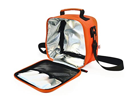 Tela Naranja 21x13.5x22 cm IRIS Basic Bolsa Porta Alimentos con 2 Contenedores