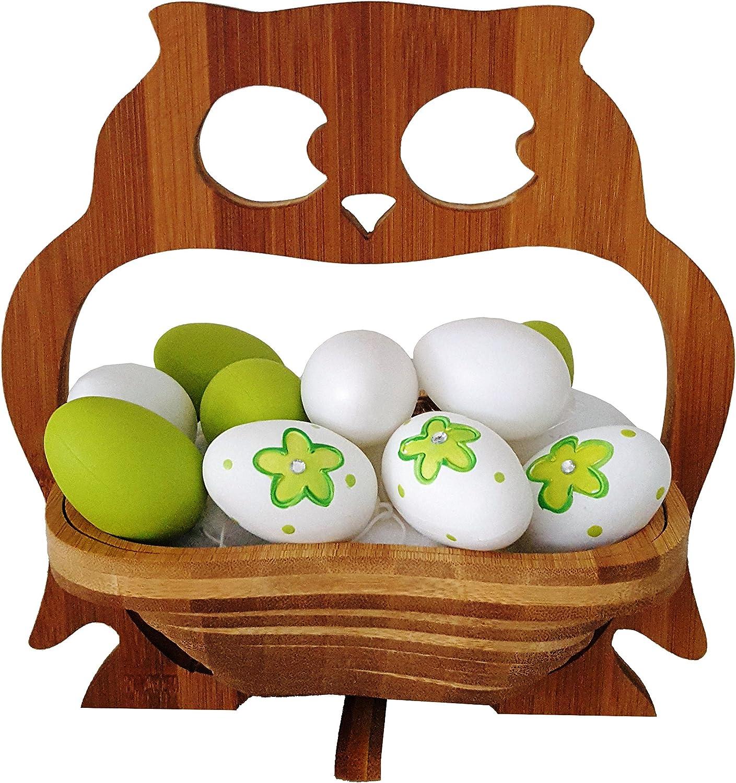 Obstkorb Bambus Faltkorb Knabberschale Untersetzer Holz-korb Apfel 26,5 cm Durchmesser faltbar mit Griff praktisch und platzsparendes Ok-13 Alsino