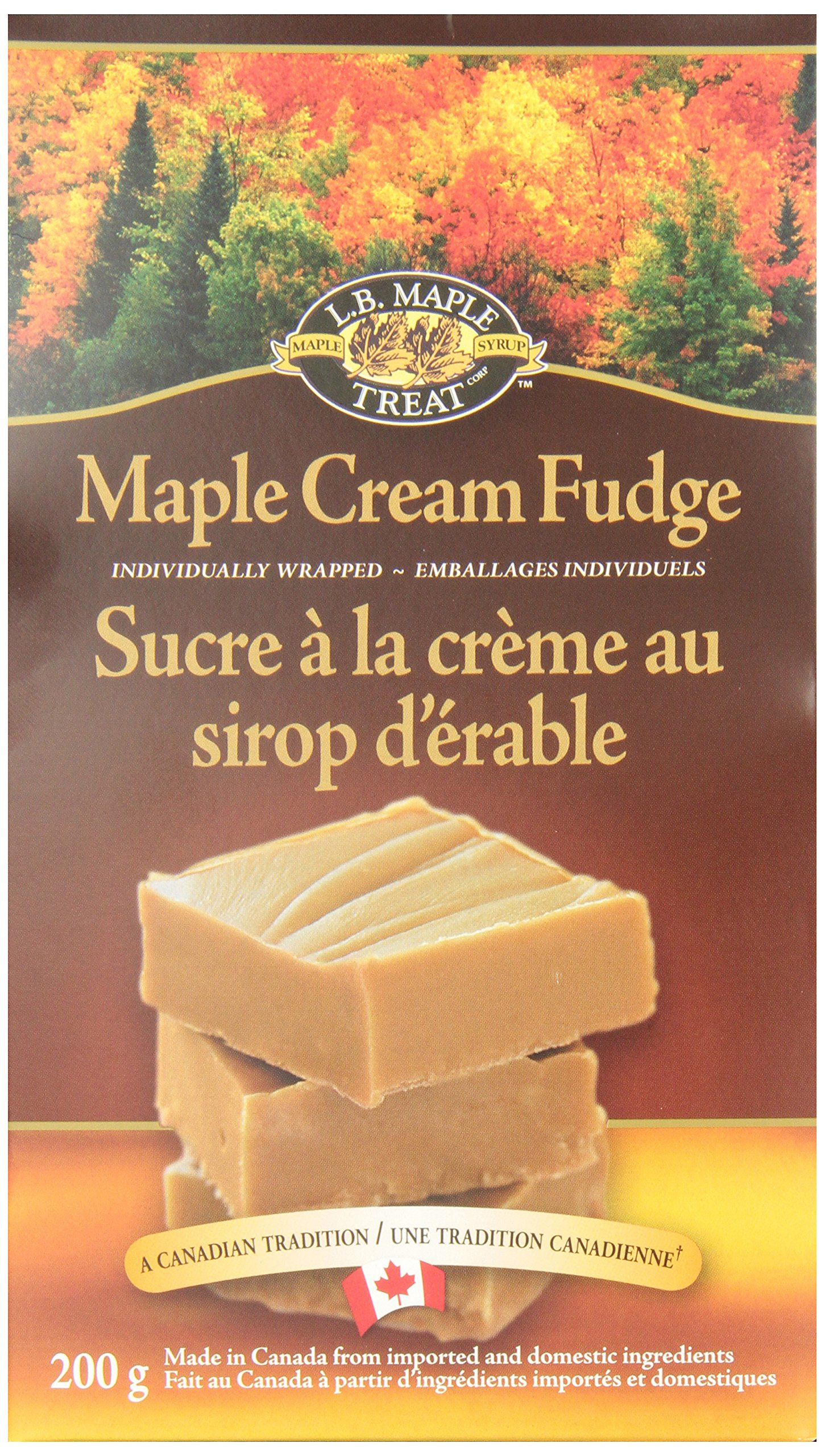 L B Maple Treat Maple Cream Fudge, 200 grams - Imported from Canada by L.B Maple Treat