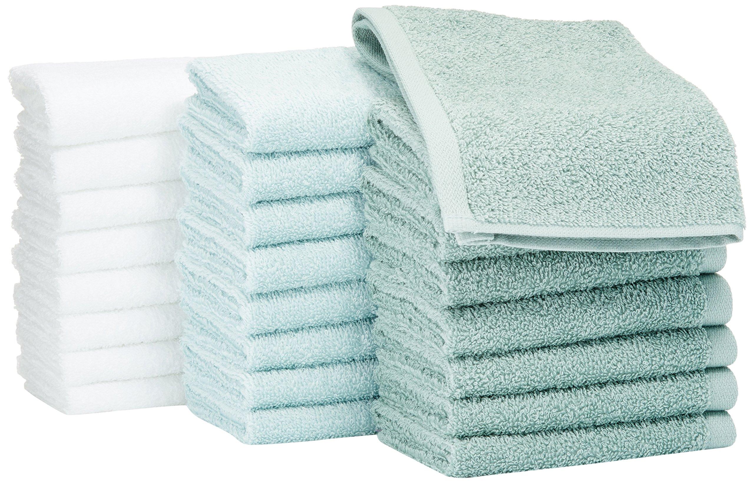 AmazonBasics Washcloth - Pack of 24 (Multi-color: Seafoam Green, Ice Blue, White)