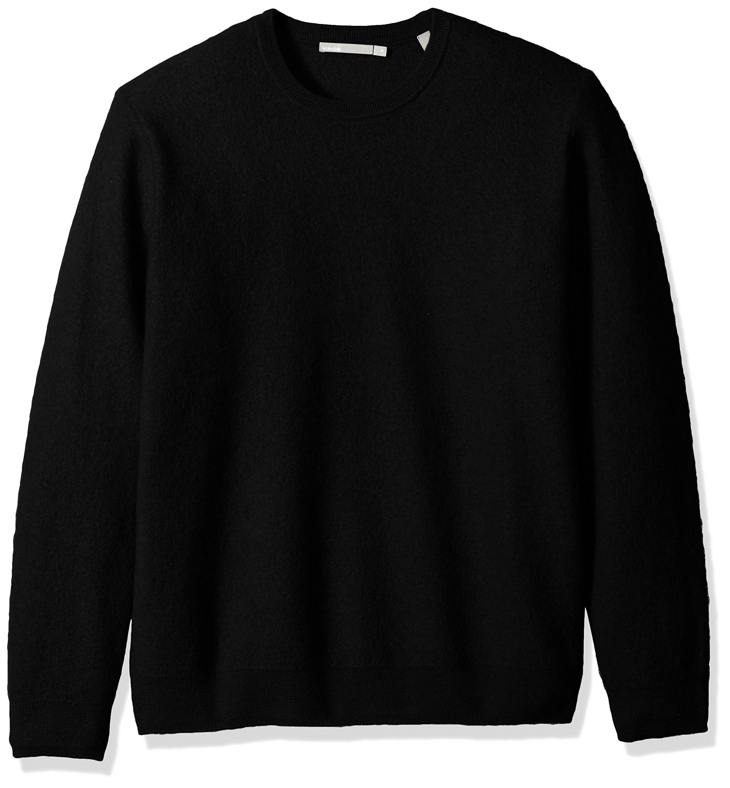 Vince Men's Simmered Cashmere Oversized Crew Neck Sweater, Black, S