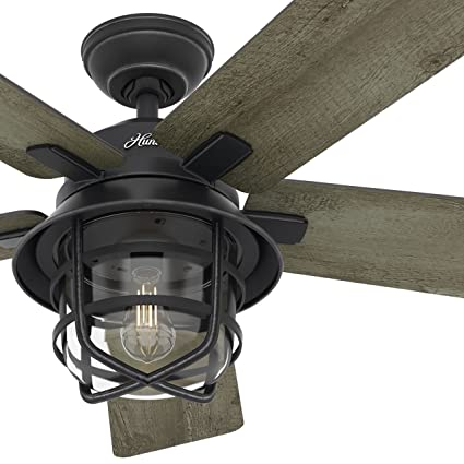 Hunter Fan 54quot Weathered Zinc Outdoor Ceiling With A Clear Glass LED Light Kit