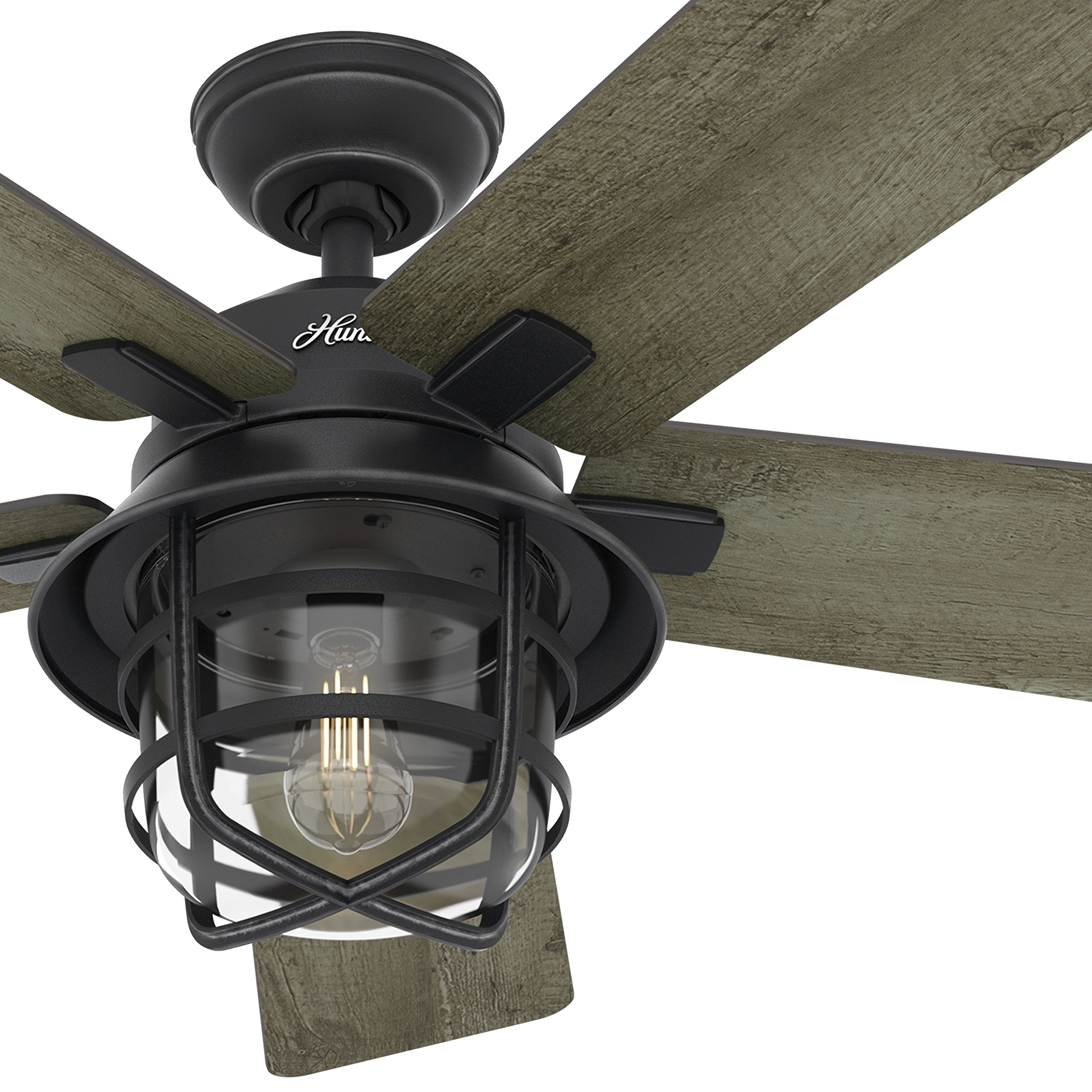 Hunter Fan 54'' Weathered Zinc Outdoor Ceiling Fan with a Clear Glass LED Light Kit and Remote Control, 5 Blade (Certified Refurbished) by Hunter Fan Company