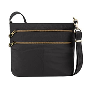 b9b02e2ec9f Amazon.com  Travelon Anti-theft Signature Double Zip Cross Body Bag, Black