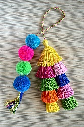 Amazon Com Pom Pom Bag Charm Tassel Bag Charm Hot Pink Tassel Bag