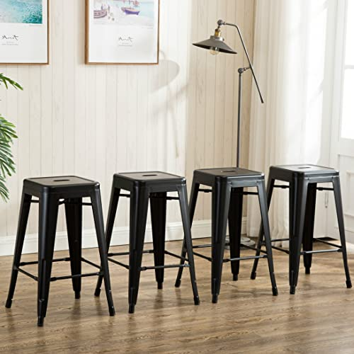 Anji Modern Furniture 26 inch Backless Metal Counter Height Bar Stools Set of 4 Vintage Tolix Chairs Matt Black