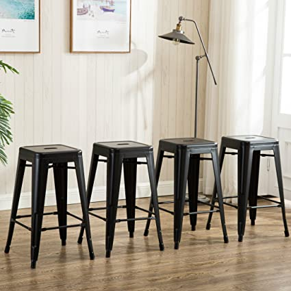 Amazoncom 26 Inch Backless Metal Counter Height Bar Stools Set Of