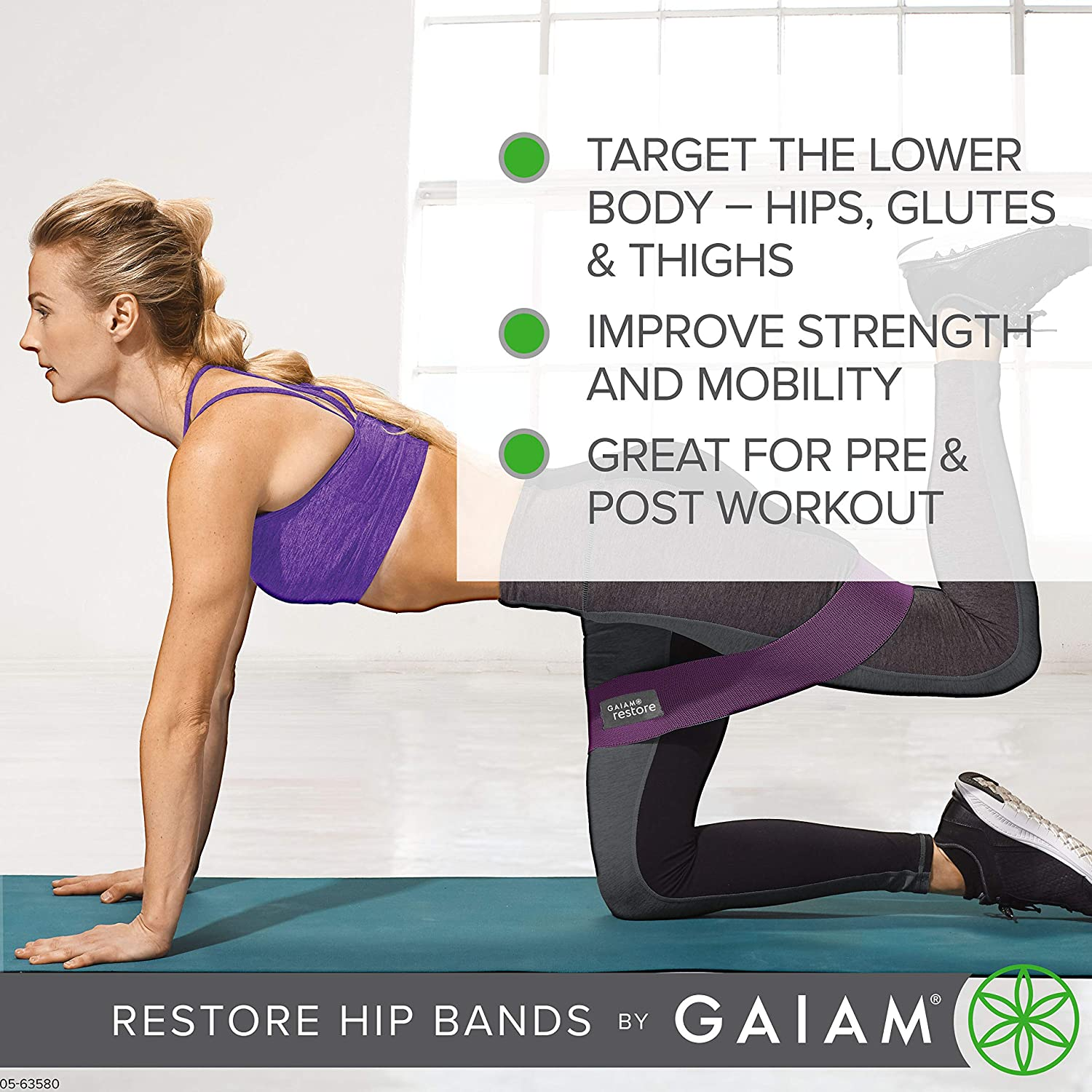 Gaiam Restore Booty Bands Resistance Loops Hip Band Circle | Set of 2 Elastic Glute Bands for Women & Men in Progressive Resistance for Legs, Butt, ...