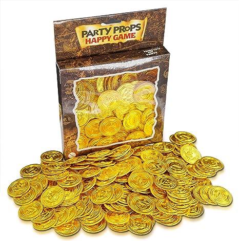 Brynnberg - Regalitos para Fiesta - Monedas del Tesoro de Plástico Oro - Paquete de 150: Amazon.es: Hogar