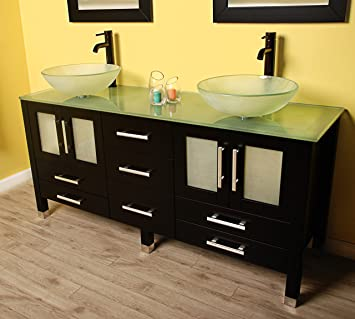 Famous Kitchen Bath And Beyond Tampa Thin Decorative Bathroom Tile Board Solid Bathroom Suppliers London Ontario Good Paint For Bathroom Ceiling Young Bathroom Vanities Toronto Canada PurpleReviews Best Bathroom Faucets Amazon.com: 63 Inch Espresso Wood \u0026amp; Glass Double Sink Bathroom ..