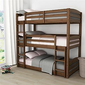 Dorel Living Phoenix Triple Bunk Bed, Mocha