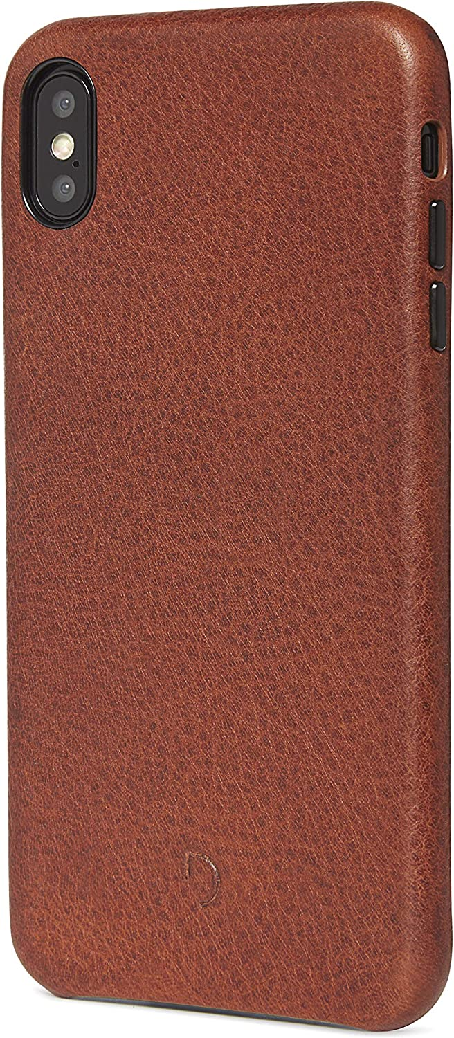 DECODED Back Cover Card Case for iPhone Xs Max, Full-Grain Leather, Metal Buttons + Minimal Design, Snap On - (Brown)