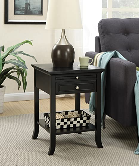 Amazon Com Convenience Concepts American Heritage Logan End Table With Drawer And Slide Black Furniture Decor