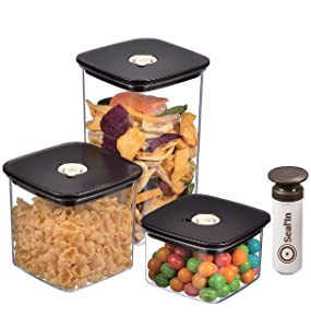 Seal'In Food Storage Vacuum Containers - Set of 3 - Vacuum Sealed, Microwavable and Dishwasher Safe
