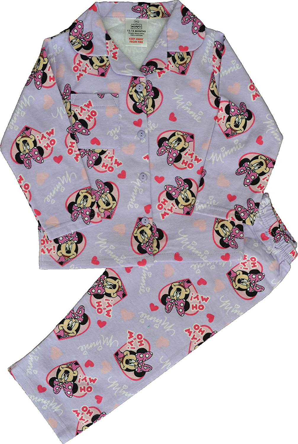 Disney Girls Minnie Mouse Winceyette Brushed Soft Cotton Pyjamas Age 12 Months to 4 Years