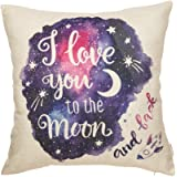 Fjfz Cotton Linen Home Decorative Throw Pillow Case Cushion Cover for Sofa Couch Watercolor I Love You to The Moon and…