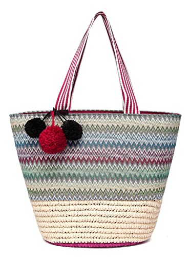 cca4f05da Daisy Rose Straw Beach Tote Bag with Pom Poms, Printed Fabric Detail and  Inner Pouch