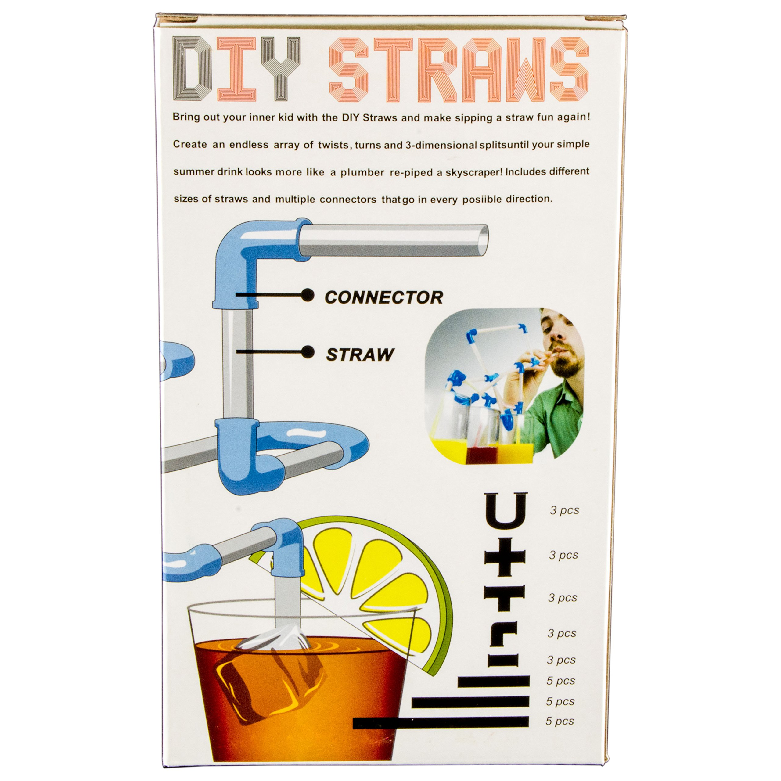 Electronix Express DIY Straws - Construct Your Own Crazy Drinking Straw - 30 Piece Kit by Electronix Express