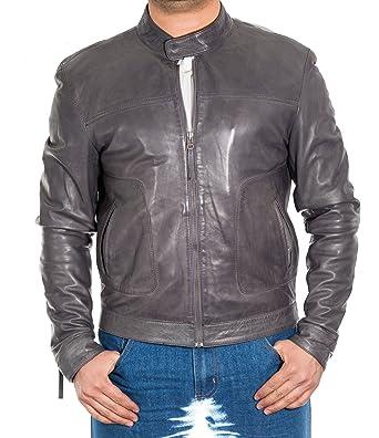 Gris Hombre del piel de cordero encerado del motorista del cuero de la chaqueta. Collar pesta-a. Chaqueta de cuero de verano.: Amazon.es: Ropa y accesorios