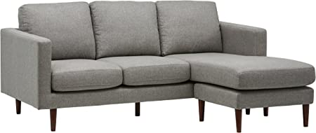 Rivet Revolve Modern Upholstered Sofa with Reversible Sectional Chaise, 80