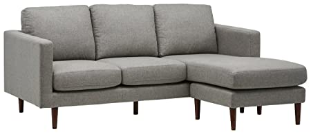 Rivet Revolve Modern Reversible Chaise Sectional, 80 W, Grey Weave
