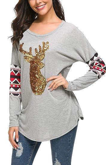 Amazon.com  Women Christmas Shirts Long Sleeve Round Neck Casual ... 1d4fc65df