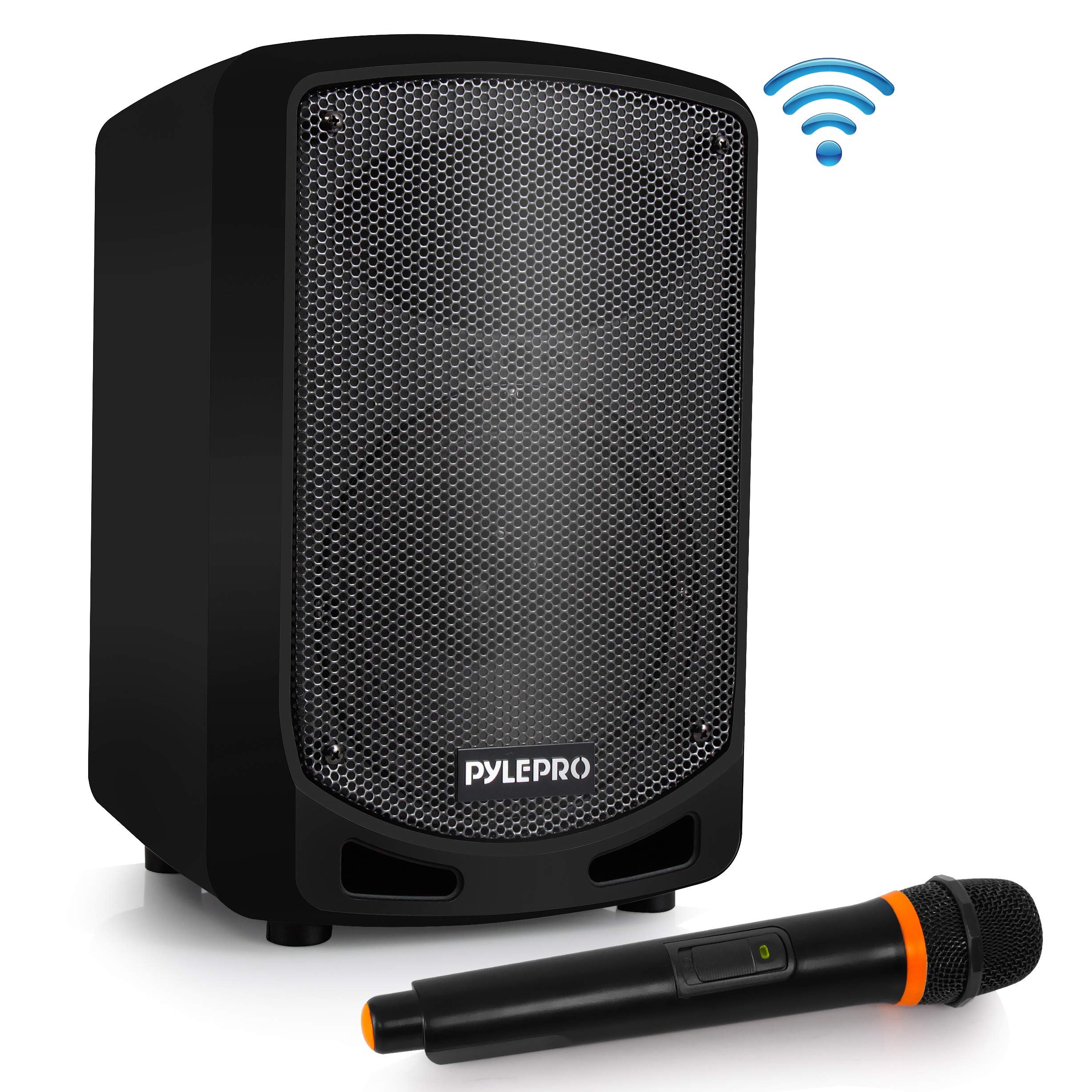 Portable Bluetooth PA Speaker System - Indoor Outdoor Karaoke Sound System w/Wireless Mic, Audio Recording, Rechargeable Battery, USB/SD Reader, Stand Mount, for Party, Crowd Control - Pyle