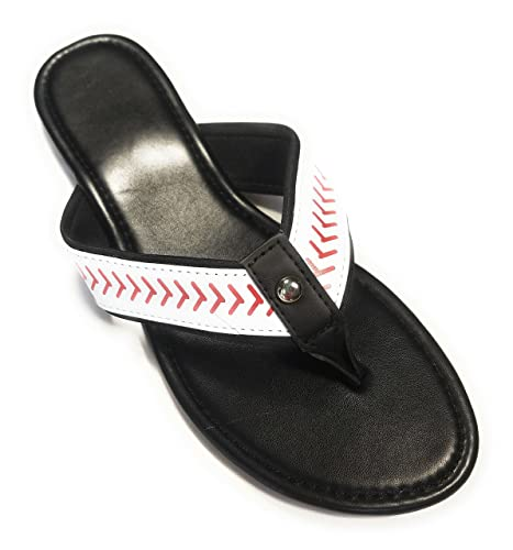 db4058926 Jubilee Spirit Baseball Flip Flop Sandals (6) Black White