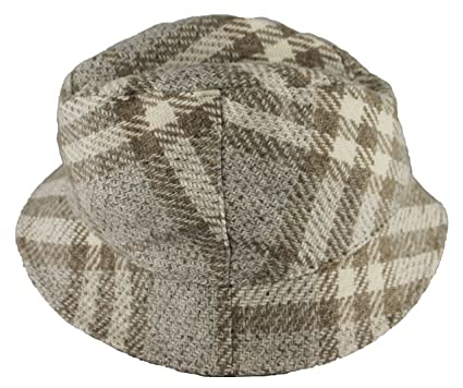 BURBERRY Womens Beige Dove Bucket Nova Check Wool Cap Hat at Amazon ... 5a7ccb01db6