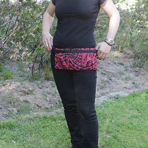 Riñonera Polinesia - Roja y Negra - Bolso cinturón hecho a mano en lona y algodón