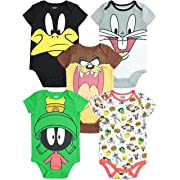 Warner Bros. Looney Tunes Infant Baby Boy Girl 5 Pack Bodysuit (12 Months)