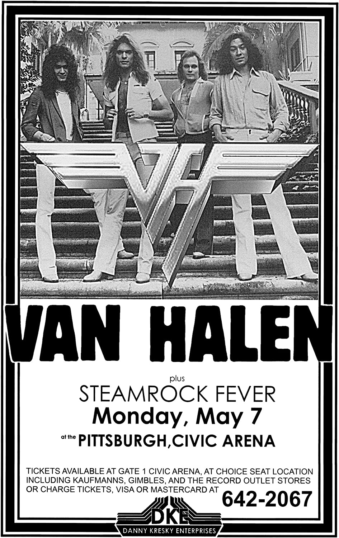 Amazon Com Innerwallz Van Halen Steamrock Fever Civic Arena 1979 Live Concert Retro Art Concert Poster Features David Lee Roth Eddie Van Halen Alex Van Halen And Wolfgang Van Halen Posters