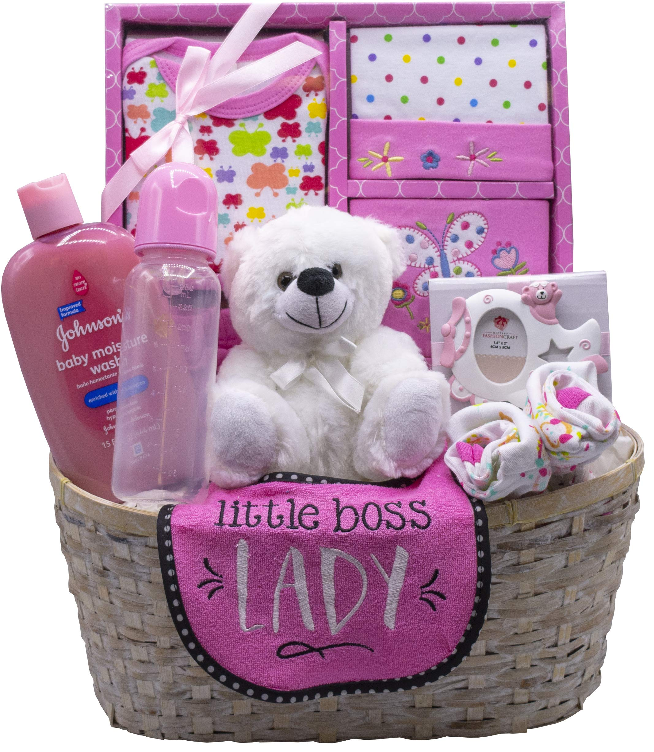 Nikki's New Arrival Baby Girl Gift Basket (Pink)