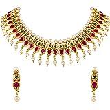 Asmitta Traditional Kuiri Shape Gold Plated Choker Style Necklace Set for Women