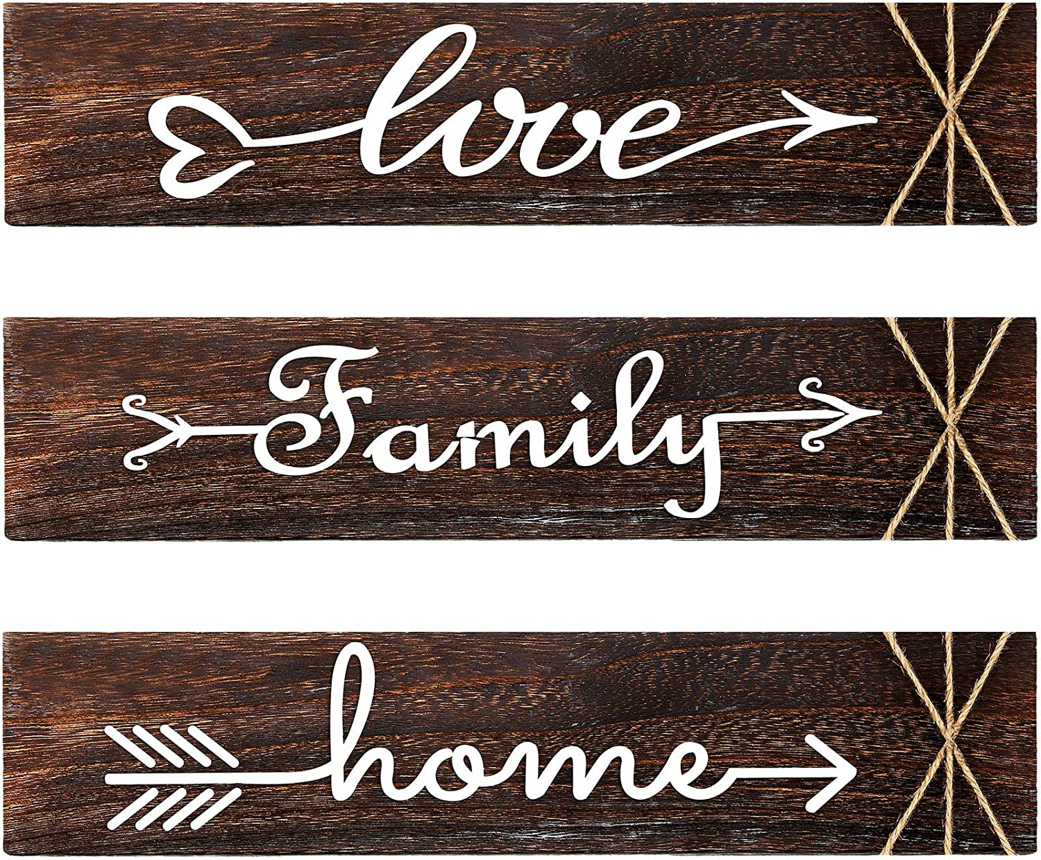 3 Pieces Rustic Wood Arrow Sign Wall Decor Home Family Love Sign, 13 x 3 Inch Wood Hanging Sign Decorative Wall Decor for Home Office Wedding Kitchen and Living Room