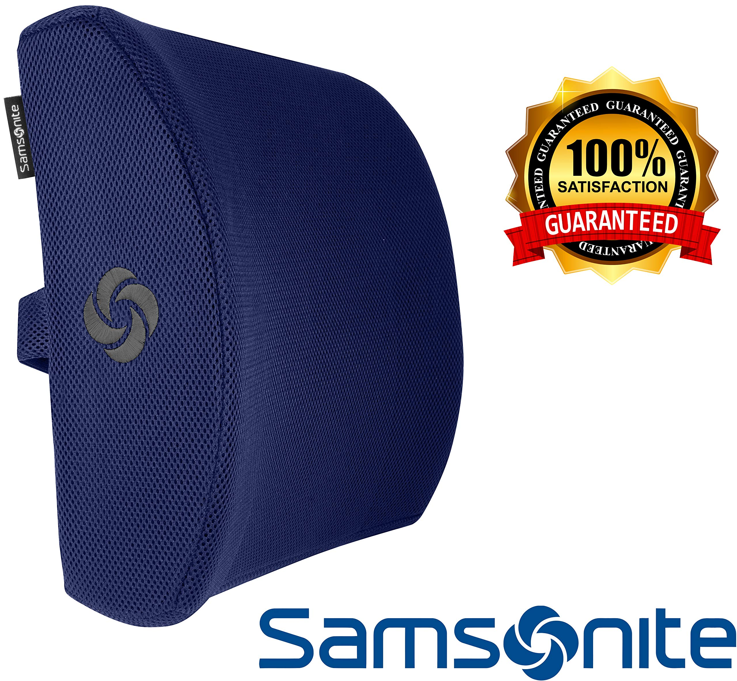Samsonite SA5294 Lumbar Support/Navy Ergonomic Pillow-Helps Relieve Lower Back Pain-100% Pure Memory Foam-Improves Posture-Fits Most Seats-Breathable Mesh-Washable Cover-Adjustable Strap