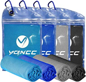 """YQXCC Cooling Towel 4 Packs (47""""x12"""") Microfiber Towel Yoga Towel for Men or Women Ice Cold Towels for Yoga Gym Travel Camping Golf Football & Outdoor Sports (Light Blue/Dblue/Light Gray/DGray)"""