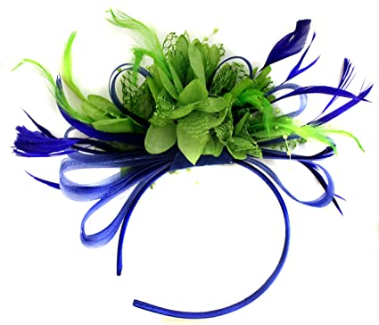 Royal Blue and Green Net Hoop Feather Hair Fascinator Headband ... 28453baae31