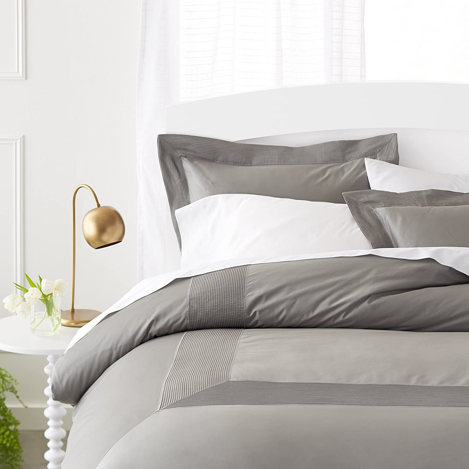 Pinzon 400-Thread-Count Egyptian Cotton Sateen Duvet And Sham Set - Full or Queen, Sterling