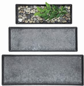 Creative Co-op Decorative Rectangle Zinc Trays (Set of 3 Sizes)