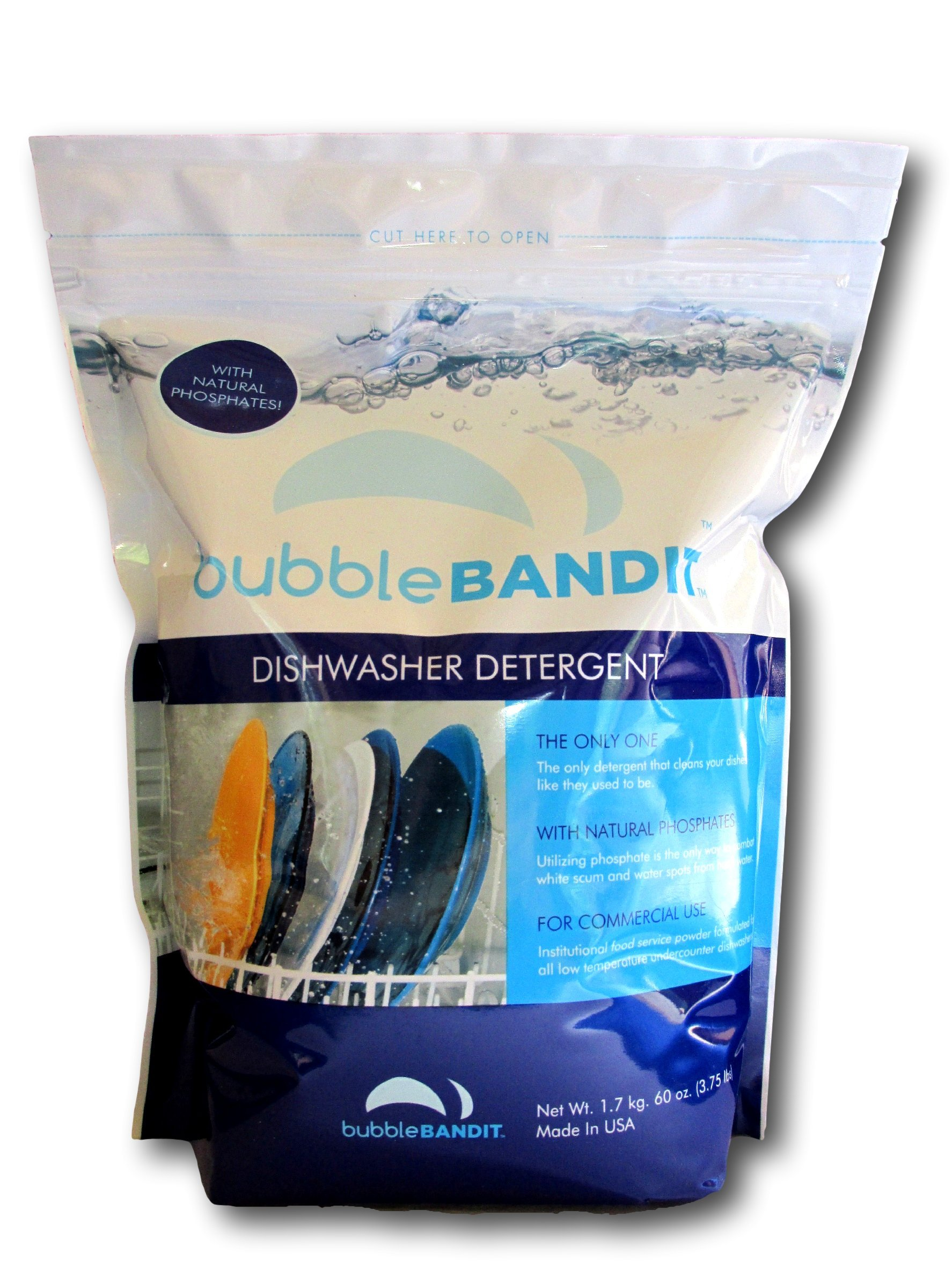 Bubble Bandit Dishwasher Detergent with Phosphate. The Best Dishwasher Detergent for Spotless Dishes in Hard Water! ALL-IN-ONE (Soak, Wash & Rinse). One Bag (3.75 lbs.)